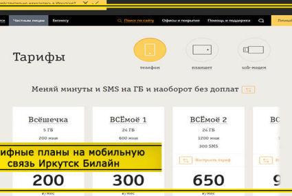 Тарифы Билайн Иркутск и Иркутская область в 2020 году