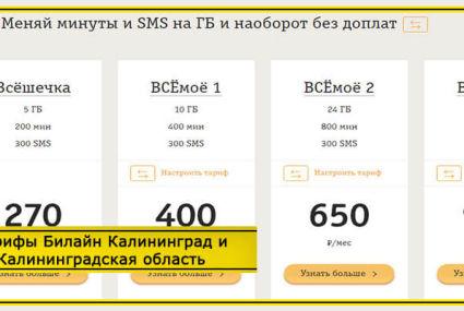 Тарифы Билайн Калининград и Калининградская область в 2020 году