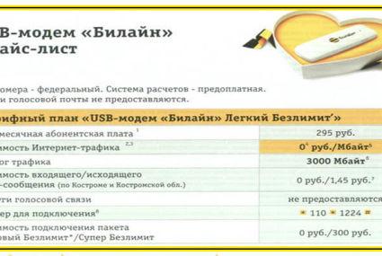 Тарифы Билайн Кострома и Костромская область в 2020 году